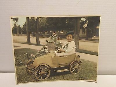 Rare Little Boy In Pedal Car 1940's 8X10 Vintage Photo Brown County Ohio