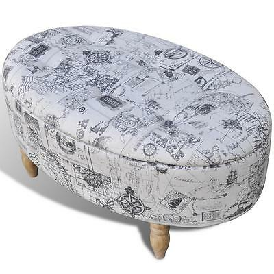 Stool Footrest Ottoman Storage Seat Patterned Oval 99 x 60 x 47 cm N5N7