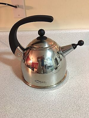 Ottoni Fabbrica Tea Kettle - Brushed 18/10 Stainless w/ Polished Stainless Trim