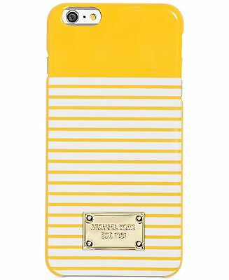 Michael Kors NEW Yellow Striped Iphone 6 Plus Snap On Hardcover Case $55 #051