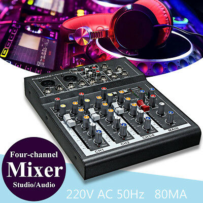 Professional 4-Channel Line Mixing Live Studio Audio Sound Mixer Console USB
