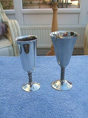 2 Vintage Silver Plated  Valero Goblets Grapevine Stems Made In Spain