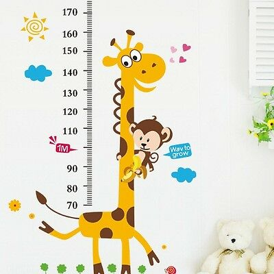 Children Height Growth Chart Measure Wall Sticker Kids Room Decor Animal Decal