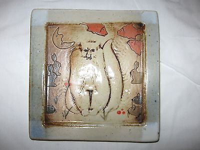 """Signed 5"""" Handcrafted Dreaming Cat Tile Wall Hanging or Plaque Fish Rabbits Moon"""
