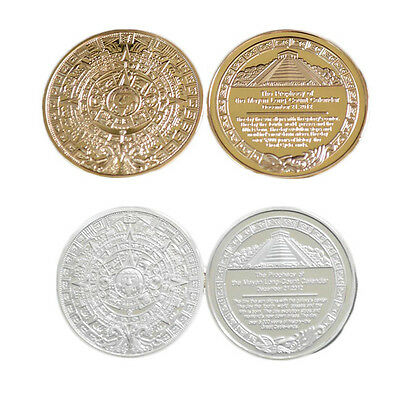 The Prophecy of Mayan Long-count Calender Commemorative Iron Coin Gold Silver