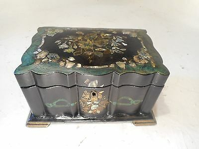 Antique Papier Mache  Tea Caddy  Box , mother of pearl inlay      ref 3085
