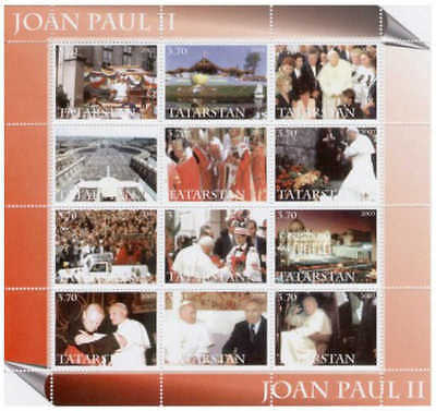 2003 Pope John Paul II Tribute on Stamps - 12 Stamp  Sheet PL48