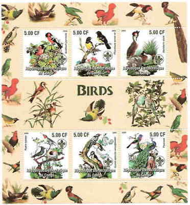 Birds on Stamps - 6 Stamp  Sheet 111-41