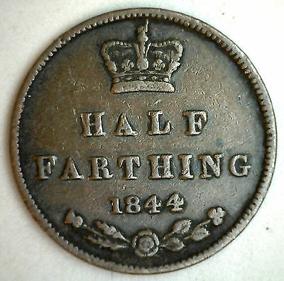 1844 Copper English 1/2 Half Farthing Great Britain Coin XF