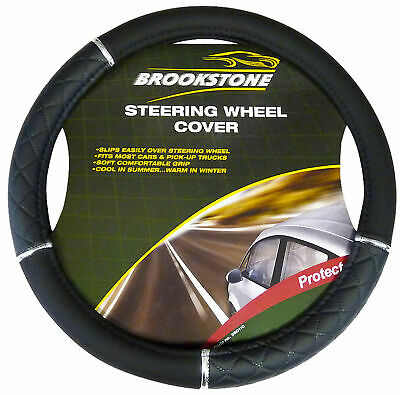 Universal Black & Chrome Faux Leather Car Steering Wheel Cover Glove Comfortable