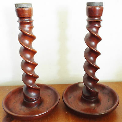 Pair of Vintage Wooden Candle Sticks Barley Twist Style 27cm high
