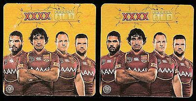 "Beer Coasters 2012 Qld State Of Origin Xxxx ""proudly Qld"" Two Different - New #9"