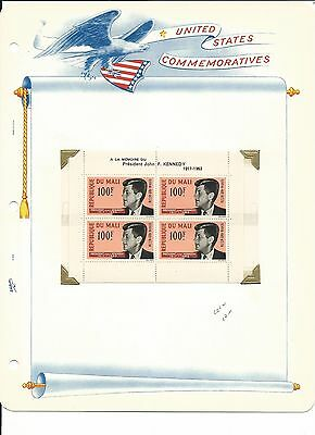 Mali, John F. Kennedy Collection on White Ace Pages, #C24a Sheet & Cover