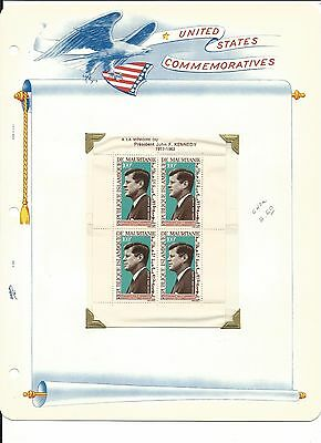 Mauritania, John F. Kennedy Collection on White Ace Pages, #C40a Sheet & Cover