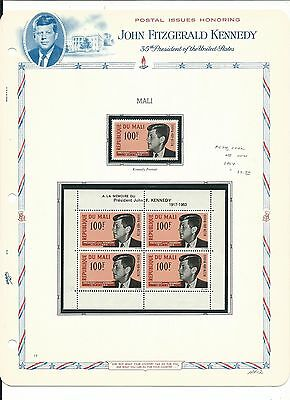 Mali & Malta, John F. Kennedy Collection on White Ace Pages, Mint NH 4 Pages