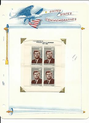 Ivory Coast, John F. Kennedy Collection on White Ace Pages, #C29a Sheet & Cover