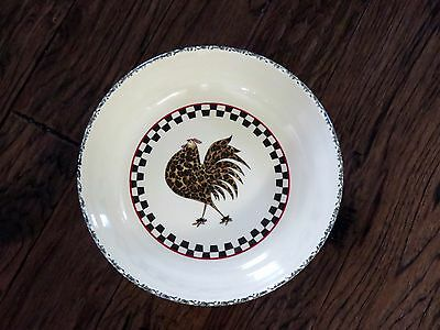 Henn Pottery Checkerboard Black Trim Leopard Rooster Large Family Pasta Bowl