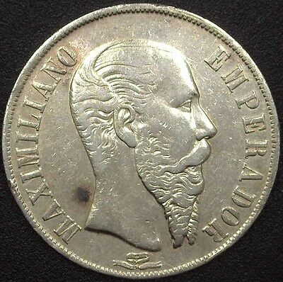 Mexico 1867-Mo Silver Peso  About Uncirculated