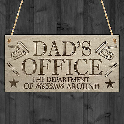 Dad's Office Funny Novelty Father's Day Man Cave Hanging Plaque Shed Gift Sign