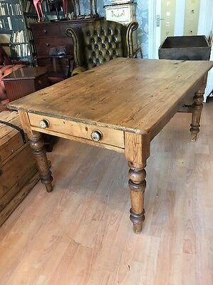 Antique Solid Pine Dining Table Farmhouse Country Pine Victorian FREE UK P&P����
