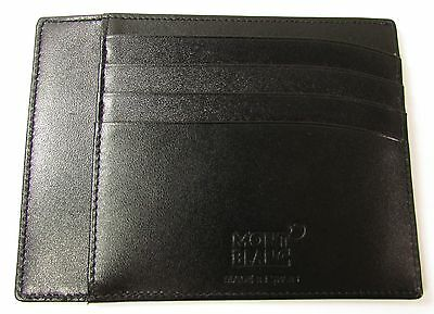 New Montblanc Meisterstuck Pocket 4 Credit Card & Id Holder Wallet Black Leather