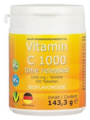 VITAMIN C 1000mg ab 5 Cent/Tablette Bioflavonoide TIME RELEASED Made in Germany