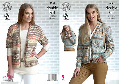 Womens Double Knitting Pattern Ladies Lacy Sleeve Cardigan King Cole DK 4854