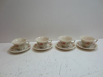 #1 Lot x4 Lenox Sachet Tea Cups w/ Matching Saucers - Floral Pattern, White