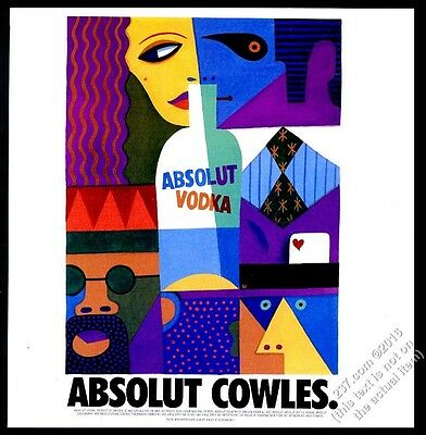 1997 Absolut Cowles David Cowles vodka bottle art vintage print ad
