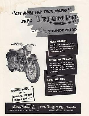 1953 Triumph Motorcycle Ad: Get More For Your Money Buy a Triumph Thunderbird
