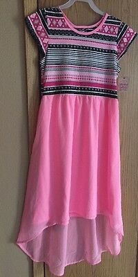 NWT Girls Size S 6-6x Black/White/Neon Pink Hi-Low Dress Short sleeve