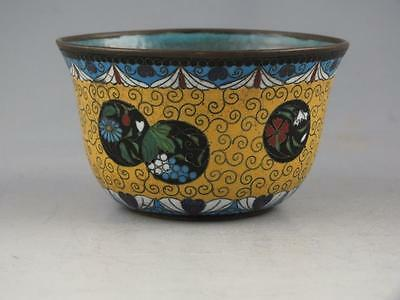 Nice Small Antique Chinese Cloisonne Bowl With Yellow Ground