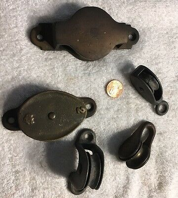 Vintage Lot Of 5 Assorted Marine Boat Pulleys Brass Wilcox Crittenden & Unmarked