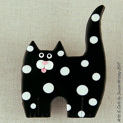 Standing Black White Spotted Kitty Cat Pin - SWris