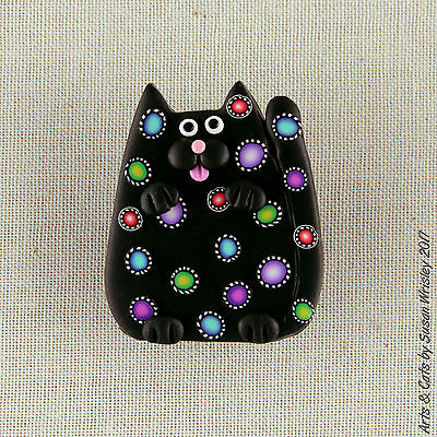 Small Black Kitty Cat with Colorful Pinwheel Spots Pin - SWris