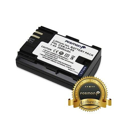 Fosmon LP-E6 Replacement Battery 2600 mAh Canon EOS 5D Mark II III 6D 7D 60D 70D
