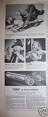 1942 Life Savers Candy Snow Sled Beer Stein Ad