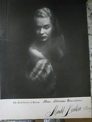1945 Vintage Womens MMe Adrienne Brassiere Bra Mandel Brothers Chicago Ad AS IS