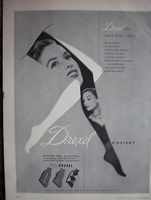 1951 Vintage DREXEL Hosiery Stockings Have Nine Lives Womens Fashion Ad