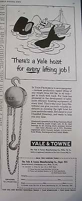 Antique Yale & Towne Hardware Hand Hoise Whale Art Ad