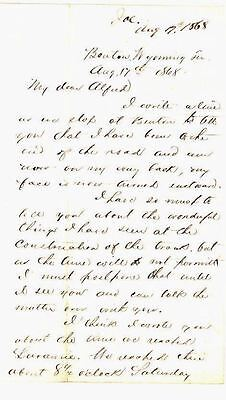 1868 Letter BUILDING OF TRANS-CONTINENTAL RAILROAD