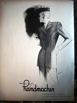 1947 Vintage HANDMACHER Women's Clothing Fashion Nichols Art Ad