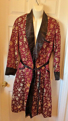 Vintage Smoking Jacket Long Length Men's Sz Small Silk? Theatrical/re-Enactment