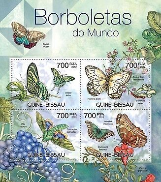 Guinea-Bissau - Butterflies of the World - 4 Stamp Sheet - GB12302a