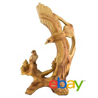 Eagles Carved Wood Look Figurine Resin 9.25 Inch High New In Box