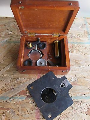Antique Bausch & Lomb 1880 Patent Folding Small Travel Microscope w/ Case NR!
