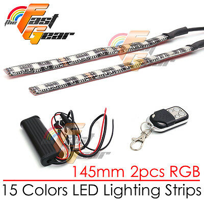 2 Pcs Motorcycle Flashing 145mm LED RGB Frame Light Strip For Car Truck Lorry