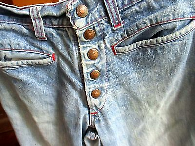 Sz 14 24x27 true Vtg 70s Girls RELIC TRASHED SNAPS BELLBOTTOM DENIM HIPPIE JEANS