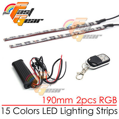 2 Pcs Cuttable 190mm RGB LED Color Light Strip Remote For Car Truck Lorry