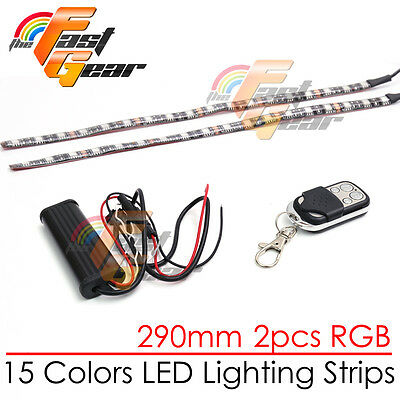 2 Pcs Fairing Body Frame Decor RGB LED Light Strip 290mm For Car Truck Lorry